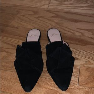 jcrew suede bow mules